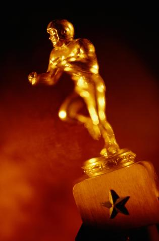 Close-Up of Golden Football Trophy