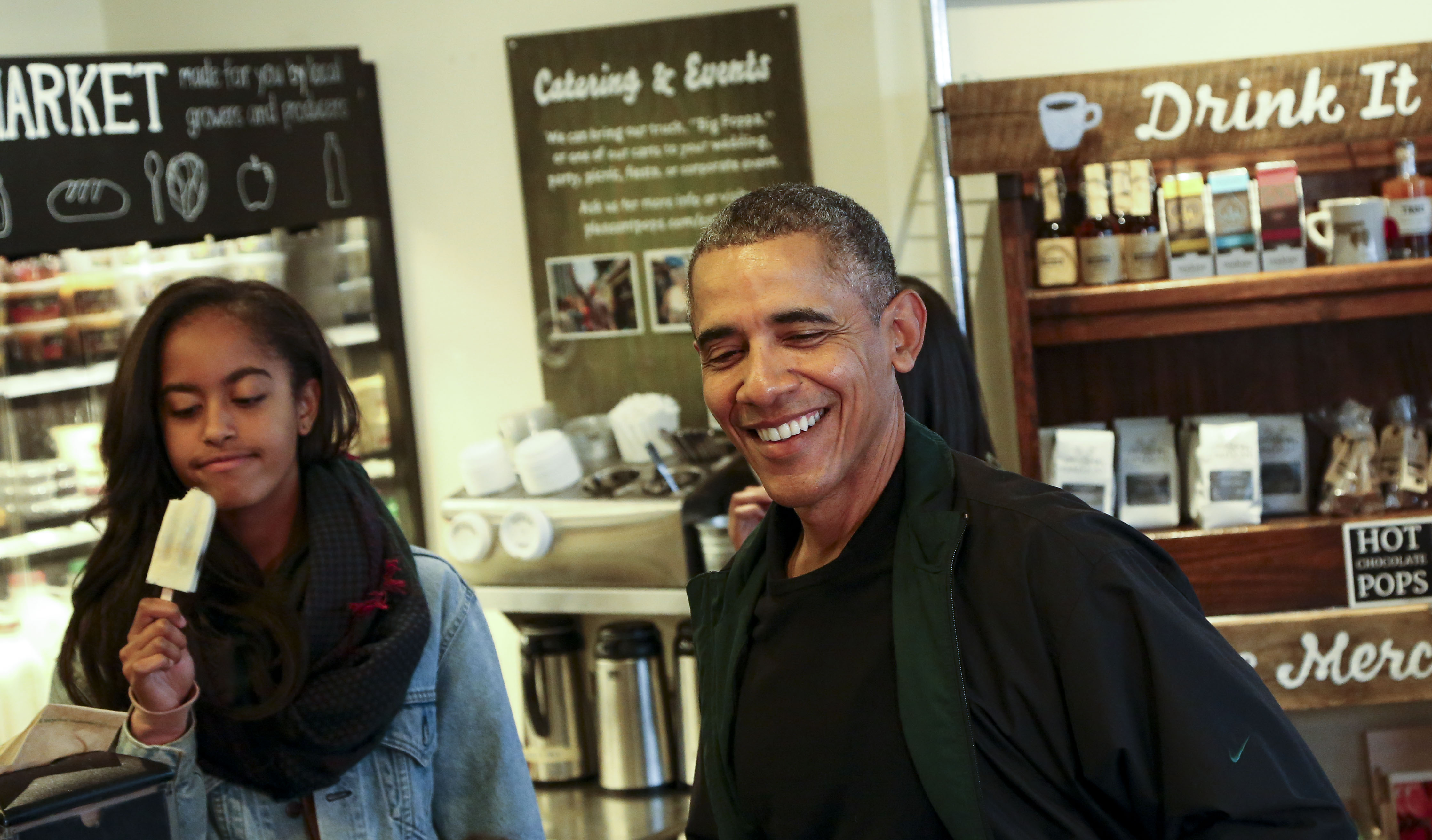 US President Barack Obama goes shopping during Small Business Saturday