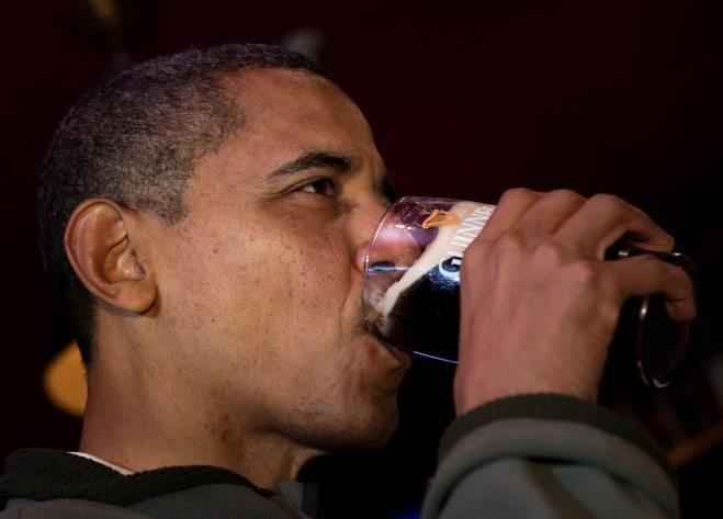 US President Barack Obama drinks a Guinn