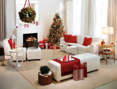 Room in loft, decked out for the holidays.