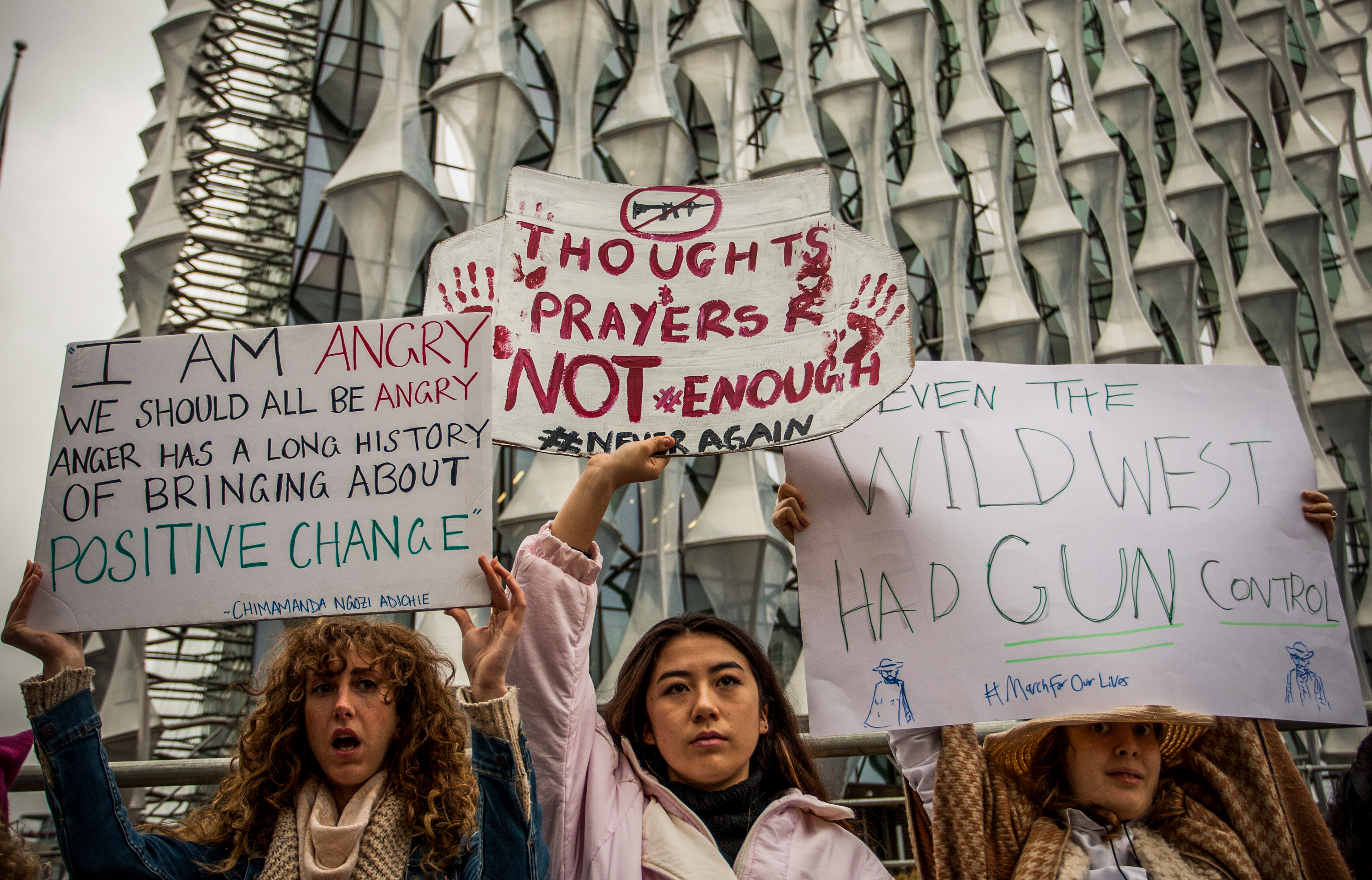 March for Our Lives event outside US Embassy, London. Led by young people demanding tighter gun control in the US