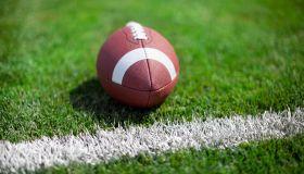 Close-Up Of American Football Ball At The Edge