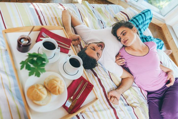 Lovely couple enjoying their lazy morning together