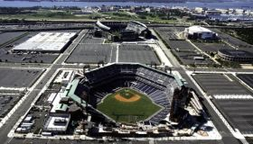 Aerial view of Philadelaphia sports stadiums ,