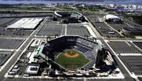 Aerial view of Philadelaphia sports stadiums ,