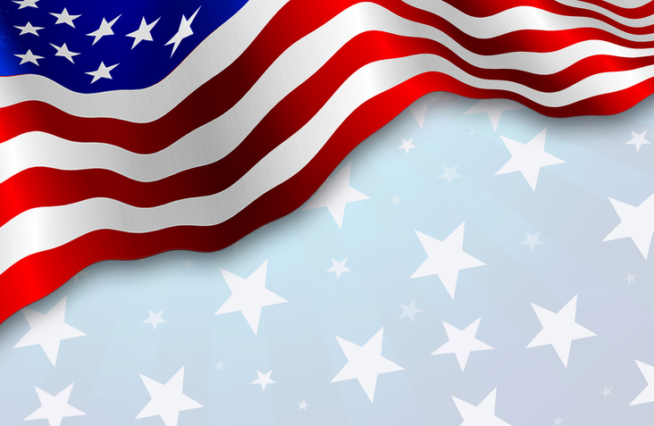 American flag, patriotic background.