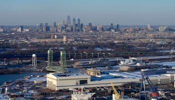 Aerial view of Philadelphia and a shipyard