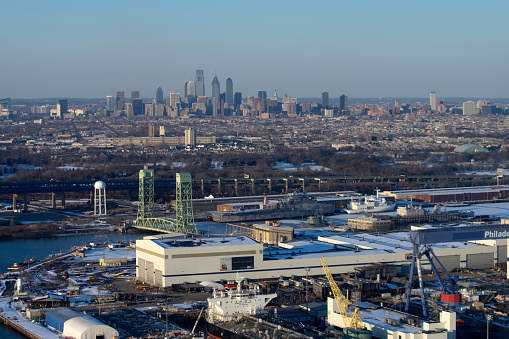 Aerial view of Philadelphia and a shipyard